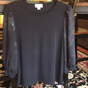 CeCe Black Top Sheer Sleeve Appliqué Detail Size S
